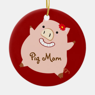 Pig Mom (pretty pig) Double-Sided Ceramic Round Christmas Ornament