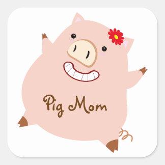 Pig Mom (pretty pig) Square Sticker