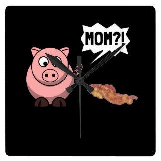 Pig Mom Square Wall Clock
