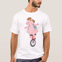 pig on a unicycle T-Shirt