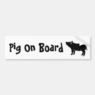Pig On Board Bumper Sticker Car Bumper Sticker