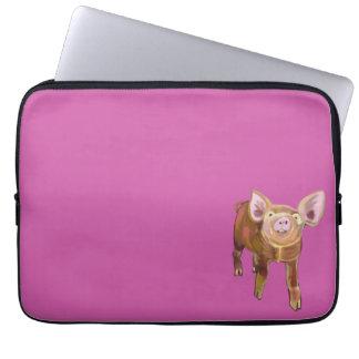 Pig on Pink Laptop Sleeve