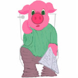 """Pig on the Toilet Photo Sculpture<br><div class=""""desc"""">What better gift can you give or get than a sculpture of a pig sitting on a toilet? Put it in the bathroom as a reminder to not hog the bathroom.</div>"""