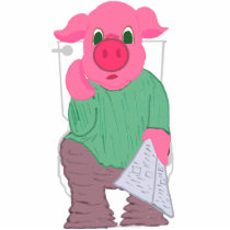 Pig on the Toilet Photo Sculpture