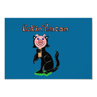 Pig or Cat? Fakin' Bacon 3.5x5 Paper Invitation Card