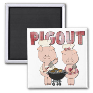 Pig Out BBQ Gift 2 Inch Square Magnet