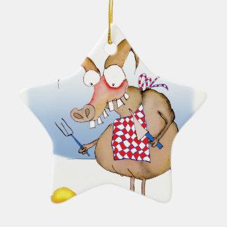 pig out breakfast, tony fernandes ceramic ornament