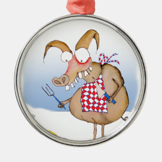 pig out breakfast, tony fernandes metal ornament