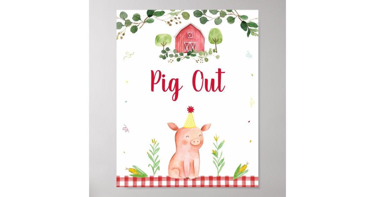 Pig Out Farm Birthday Food Sign   Zazzle.com