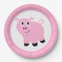 Pig Out It's A Party Cute Pink Pig Birthday Party Paper Plate