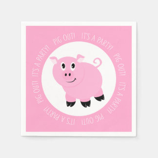 Pig Out It's A Party Cute Pink Piggy Birthday Napkin