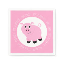 Pig Out It's A Party Cute Pink Piggy Birthday Napkins