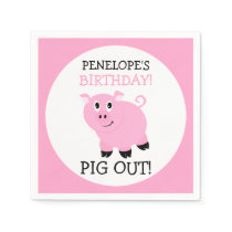 Pig Out It's A Party Personalized Pink Piggy Party Napkins
