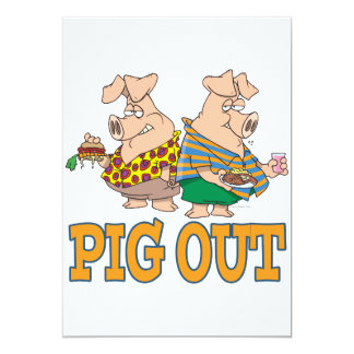 PIG OUT PIG FOOD CARTOON CUSTOM ANNOUNCEMENT