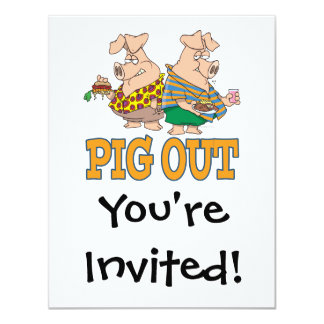 PIG OUT PIG FOOD CARTOON PERSONALIZED INVITATION
