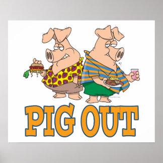 PIG OUT PIG FOOD CARTOON POSTER