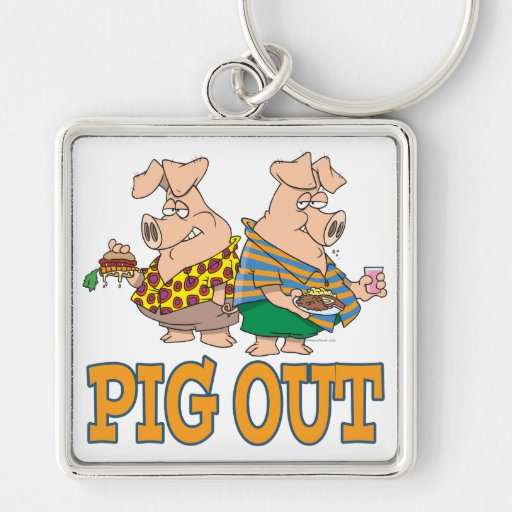 PIG OUT PIG FOOD CARTOON Silver-Colored SQUARE KEYCHAIN