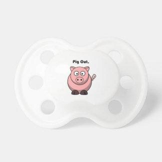 Pig Out Pink Piggy or Hog Cartoon Pacifier