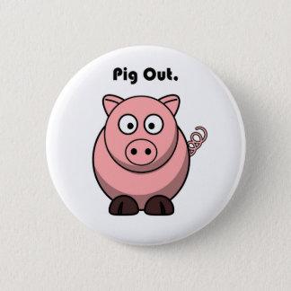 Pig Out Pink Piggy or Hog Cartoon Pinback Button