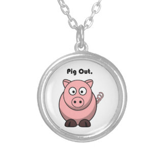Pig Out Pink Piggy or Hog Cartoon Round Pendant Necklace