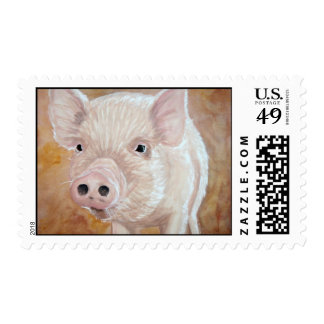 Pig Painting by Kathryn A. Gainard Postage Stamp