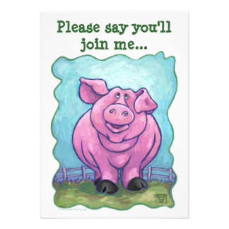 Pig Party Center Personalized Invitations