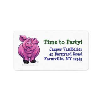 Pig Party Center Custom Address Label
