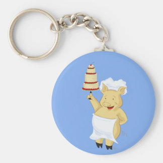 Pig Pastry Chef Keychain