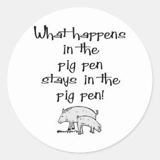 Pig Pen Classic Round Sticker