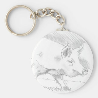 Pig Pencil Drawing Basic Round Button Keychain