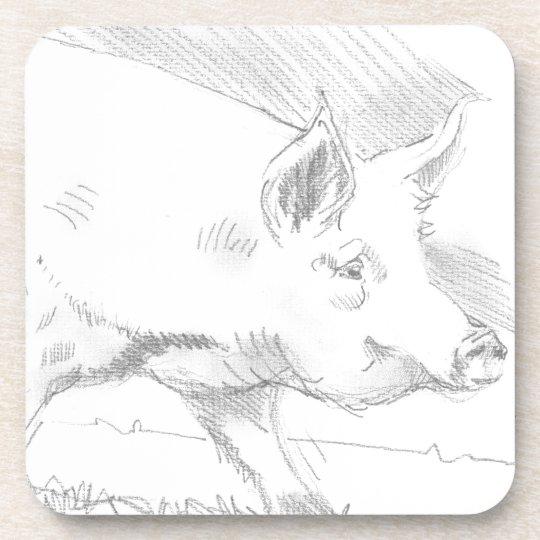 Pig Pencil Drawing Drink Coaster