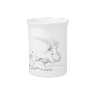 Pig Pencil Drawing Drink Pitchers