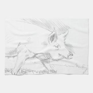 Pig Pencil Drawing Hand Towels