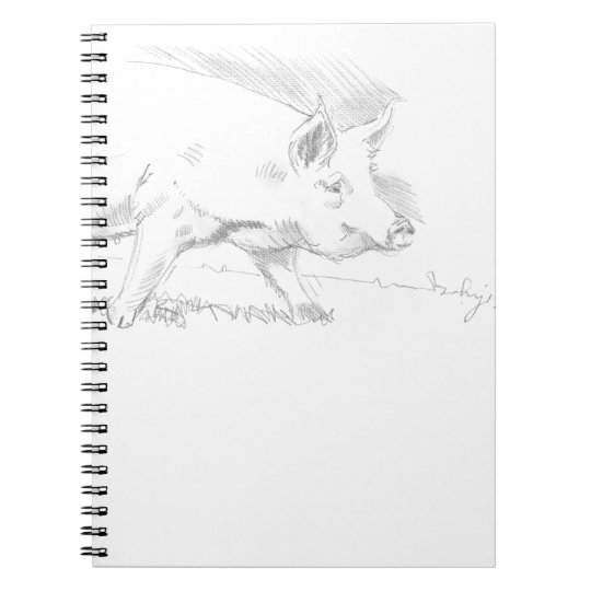 Pig Pencil Drawing Notebook