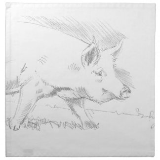 Pig Pencil Drawing Printed Napkins