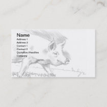 Pig Pencil Drawing Sketch Farmer Business Card