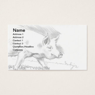 Pig Pencil Drawing Sketch Farmer Business Card