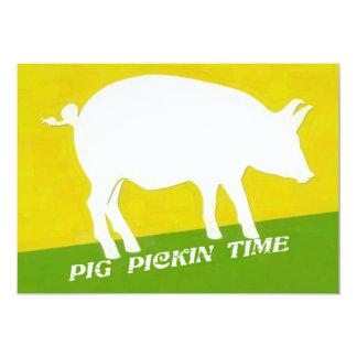 PIG PICKIN TIME 5X7 PAPER INVITATION CARD