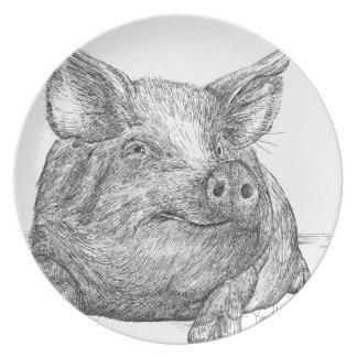 Pig Piglet Melamine Plate
