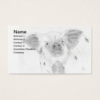 Pig Piglet Pencil Drawing Sketch Farmer Business Card