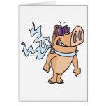 pig pilot cartoon greeting card