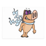 pig pilot cartoon postcard