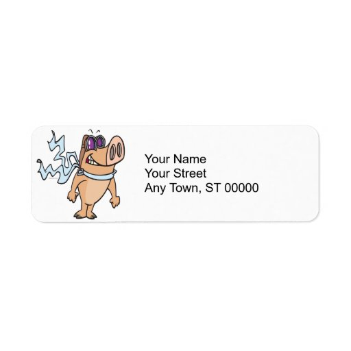 pig pilot cartoon return address label