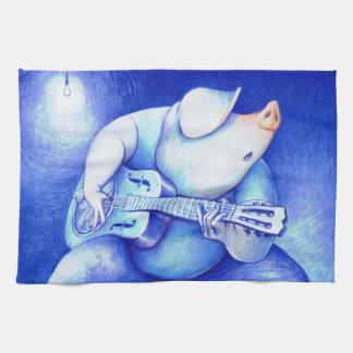 Pig Playing Blues Guitar Tea Towel