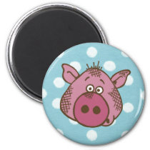 Pig Polka Dot Magnet (in blue and pink)