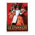 Pig Pork Ham Le Lyonnais Vintage Food Ad Art Postcard