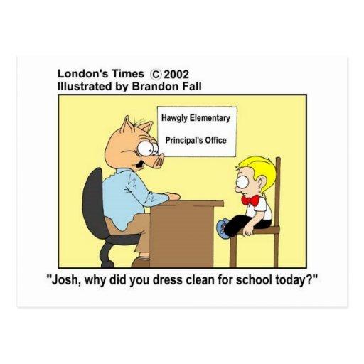 Pig Principal Funny Pig Cartoon Gifts & Tees Post Cards