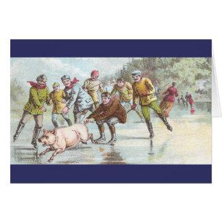 Pig Pulls Ice Skater Across Pond Cards