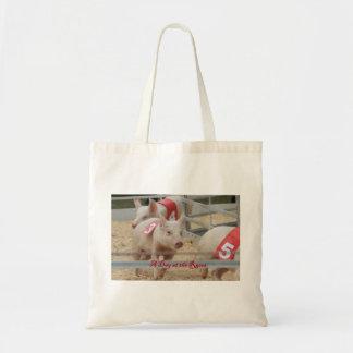 Pig racing, Pig race photograph, pink pig Canvas Bags
