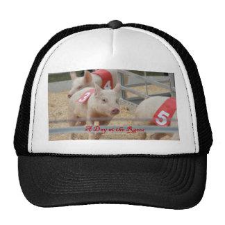 Pig racing, Pig race photograph, pink pig Trucker Hat
